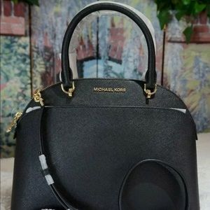 MK Large Cindy Dome Satchel Bag Blk Saffiano
